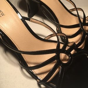 Black Patent Leather Open Toe Heels Size 9